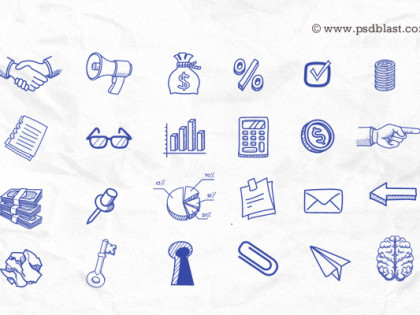 70+ Hand Drawn Icons PSD
